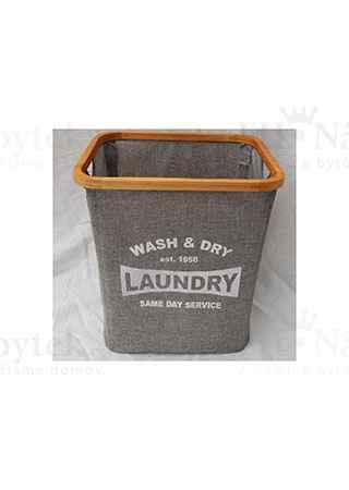 Koš prádelní z textilu se dřevěm, barva šedá