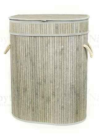 Koš prádelní z bambusu, ovál , barva šedobílá, v papírové krabičce