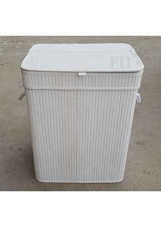 Koš prádelní z bambusu, obdélník, barva bílá, v papírové krabičce