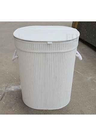 Koš prádelní z bambusu, ovál, barva bílá, v papírové krabičce