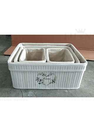 Košík regálový z bambusu, barva bílá s logem, sada 4 kusy