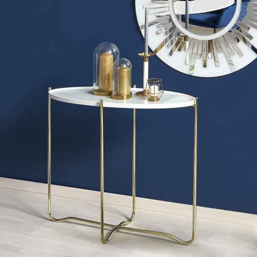 Příruční stolek KN2 bílá / zlatá