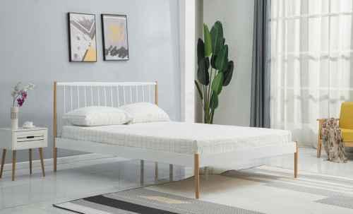 Postel LEMI 120 cm bílá/přírodní