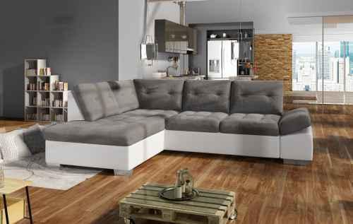Rozkládací rohová sedačka GALAXIE šedá/bílá