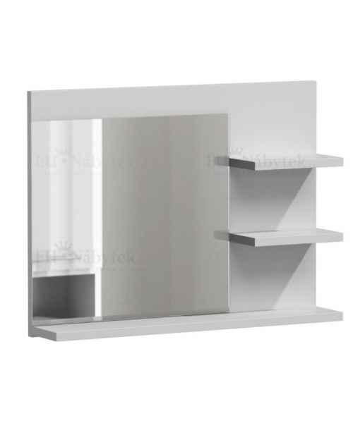 Zrcadlo LUMIA L3 s poličkami bílá mat