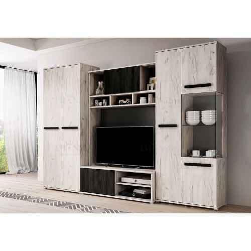 Obývací stěna VIVIAN dub Craft White + norská černá borovice