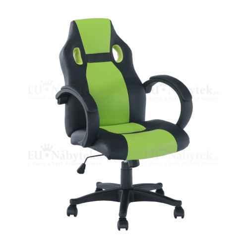 Kancelářské křeslo, ekokůže černá / zelená, LESTER NEW