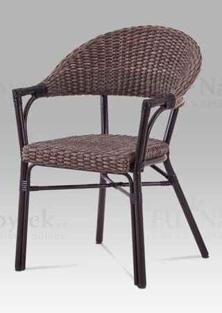 Zahradní židle, kov hnědý, ratan hnědý