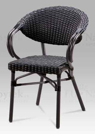Zahradní židle, kov hnědý, ratan černý