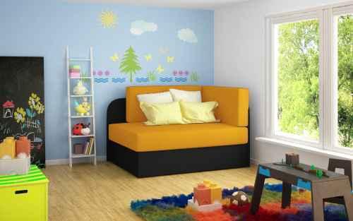 Rozkládací pohovka ROSE žlutá / černá