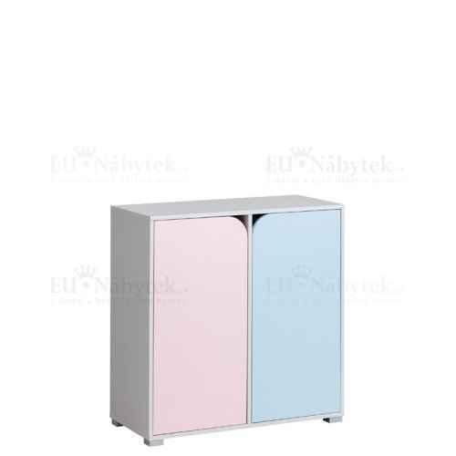 Komoda MINNIE 2 růžová/modrá