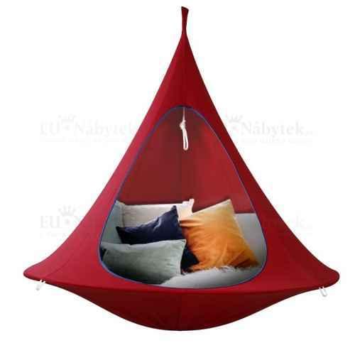 Závěsné houpací křeslo, červená, KLORIN CACOON HAMMOCK