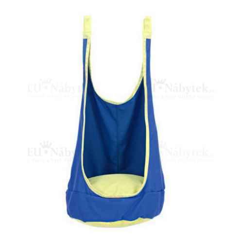 Závěsné houpací křeslo, modrá / žlutá, BEN