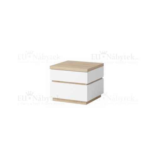 Noční stolek, bílá / dub divoký, PIETRO