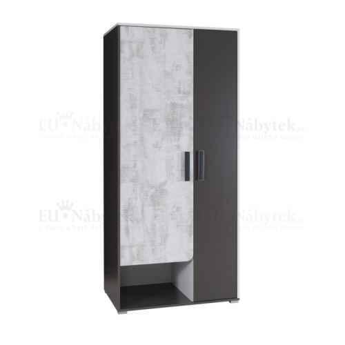 Věšáková skříň s policemi, bílá/šedý grafit/enigma, MATEL