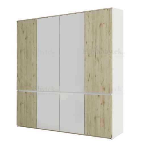 Věšáková skříň, dub wellington / bílá, LEIRA 8D