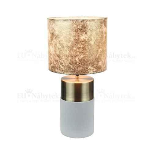 Stolní lampa, světlešedá / hnědá vzor, QENNY TYP 18