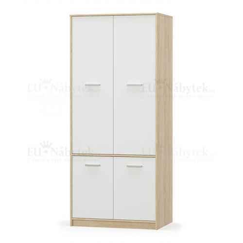 4- dveřová věšáková skříň, bíl/dub sonoma, TEYO