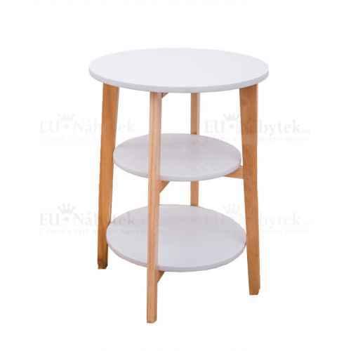Příruční stolek, bílá/přírodní, KASE