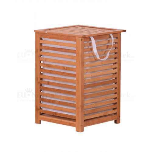 Koš na prádlo, lakovaný bambus/béžová, BASKET