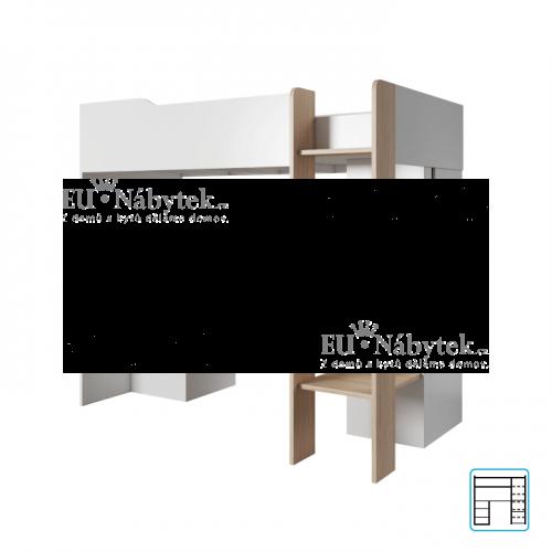 Víceúčelová kombinovaná postel, dub jantar / bílý mat, LUIS
