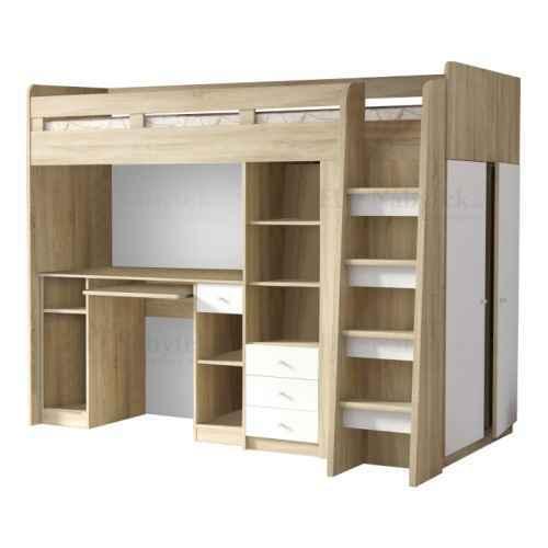 Kombinovaná víceúčelová postel, dub sonoma / bílá, SUN