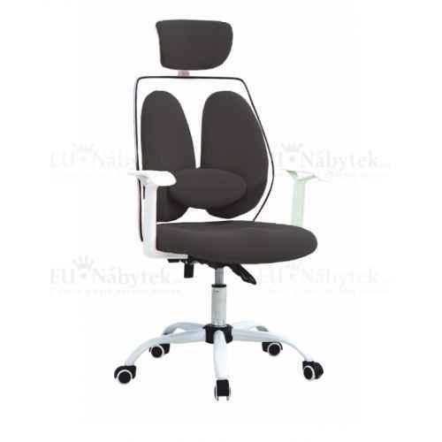 Kancelářské křeslo s opěrkou hlavy, černá / bílá, BENNO UT-C568X