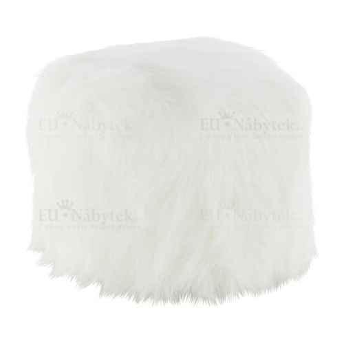 Taburet, umělá kožešina bílá, AZENE