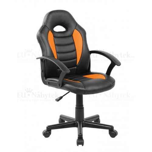 Kancelářské křeslo, ekokůže černá / oranžová, Madan