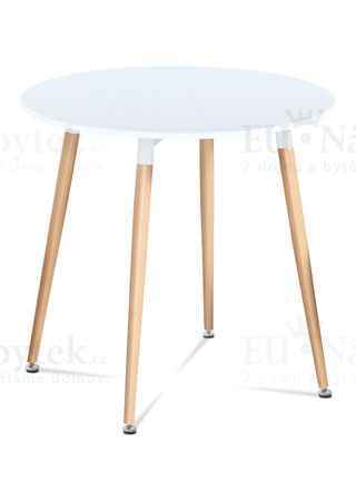 Dining table matt white MDF / beech woodtransfer legs