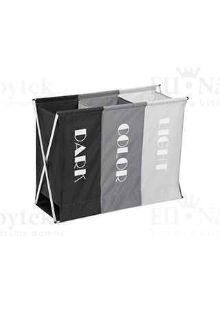 Koš na prádlo látkový,3-komorový, barva černá a šedá