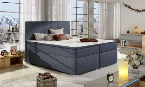 Kontinentální postel Boxspring MARIO modrá 180x200cm