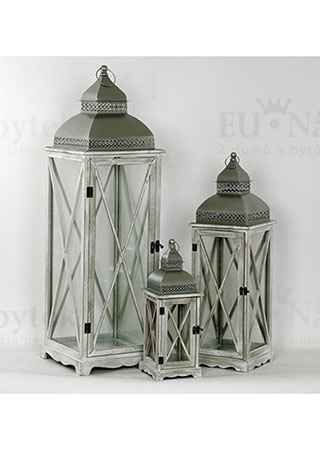 Lucerna dřevěná s kovovou stříškou, barva antik bílo-šedá, sada 3 kusy