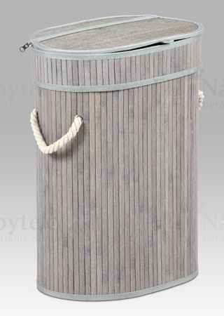 Koš prádelní z bambusu v.48cm, ovál šedobílá