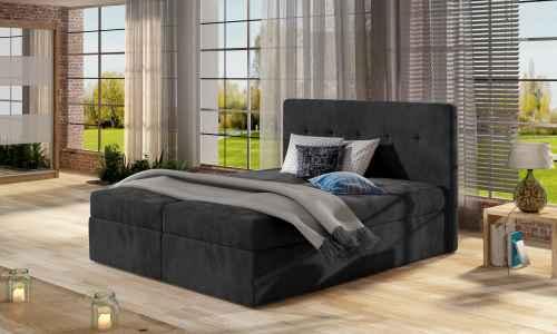 Kontinentální postel Boxspring VALENTINA tmavě šedá 160x200cm