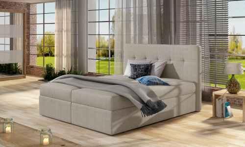 Kontinentální postel Boxspring VALENTINA světle béžová 160x200cm