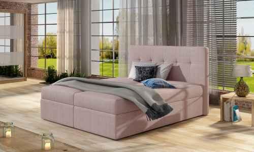 Kontinentální postel Boxspring VALENTINA růžová 160x200cm
