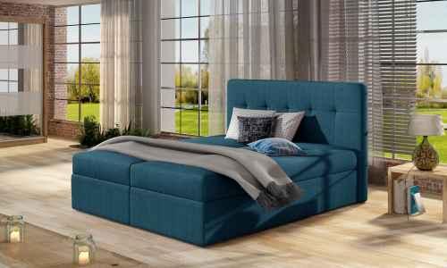 Kontinentální postel Boxspring VALENTINA modrá 160x200cm