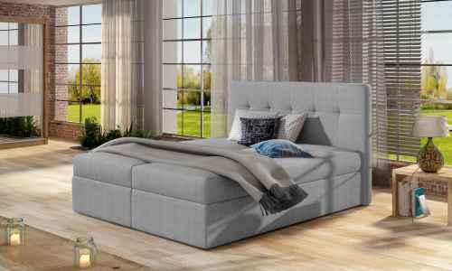 Kontinentální postel Boxspring VALENTINA šedá 160x200cm