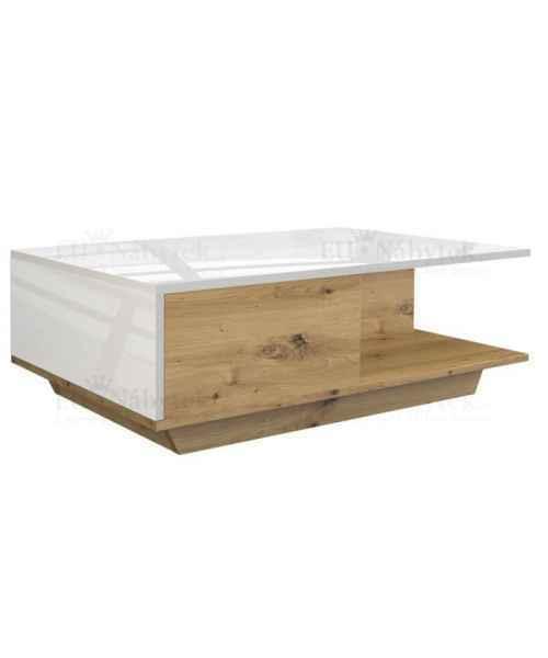 Konferenční stolek DENIS dub artisan / bílá lesk