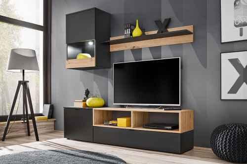 Obývací stěna MINIMAX černá mat / dub artisan