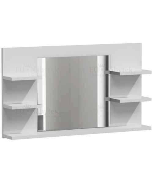 Zrcadlo LUMIA L5 s poličkami bílá mat
