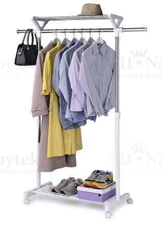 Stojan na šaty s regálem na boty, barva  bílá / chrom