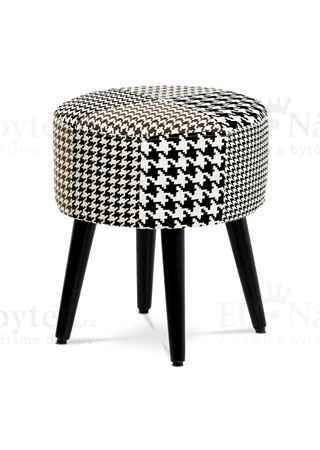 Taburet kulatý, látka černobílá patchwork, masiv kaučukovník černý