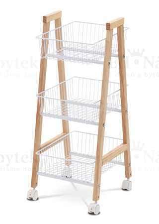 Bambusový regál, 3 košíky bílý kov, plastová kolečka