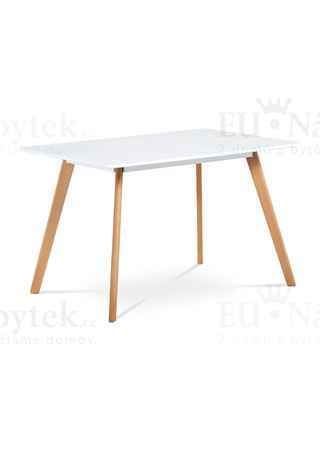 Jídelní stůl 120x80 cm, MDF, bílý matný lak, masiv buk, přírodní odstín