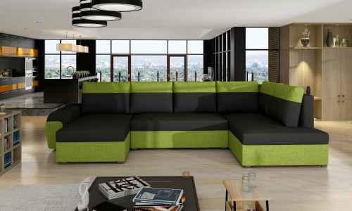 Rohová sedací souprava DORI XL U černá / zelená