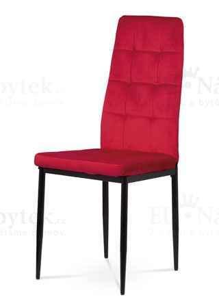 Jídelní židle, červená sametová látka, kovová čtyřnohá podnož, černý matný lak