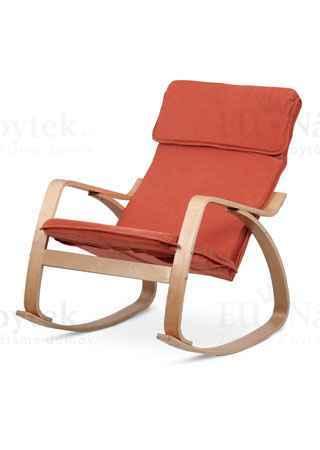 Relaxační křeslo, potah látka terracotta, ohýbaná překližka, moření v přírodním odstínu
