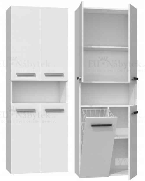 Koupelnová skříňka NELA 60 s košem bílá mat